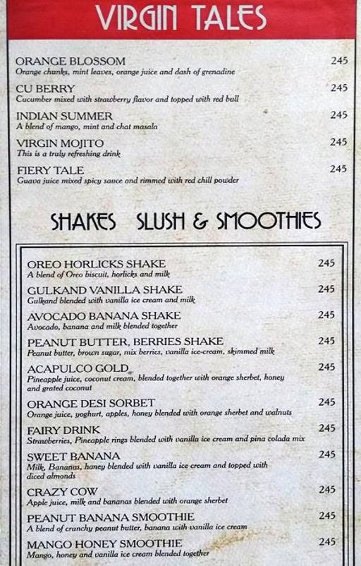 Menu 15 - Mafioso, Hauz Khas Village, New Delhi