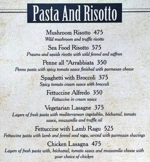 Menu 4 - Mafioso, Hauz Khas Village, New Delhi