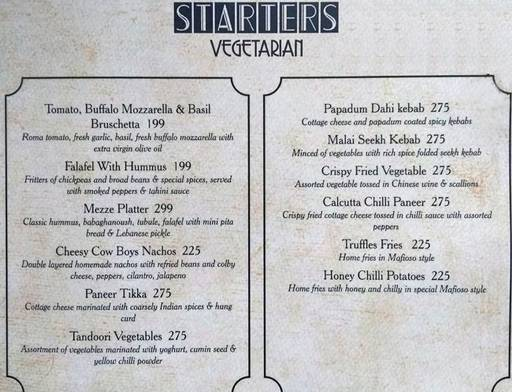 Menu 5 - Mafioso, Hauz Khas Village, New Delhi