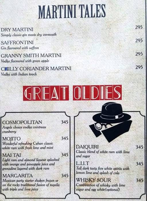 Menu 9 - Mafioso, Hauz Khas Village, New Delhi