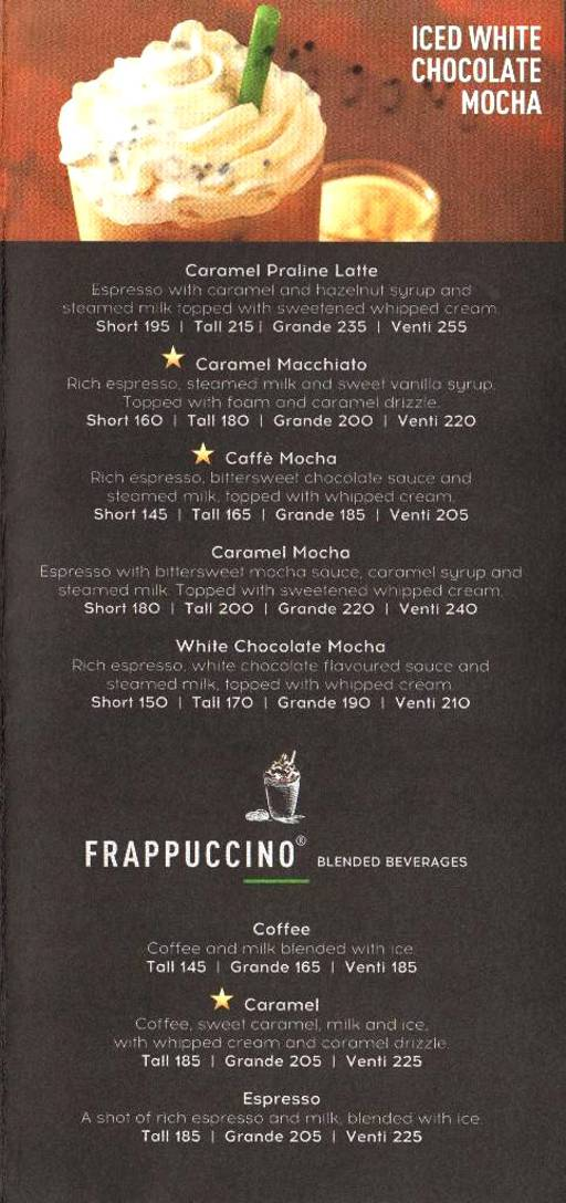 Menu Of Starbucks Igi Airport New Delhi Magicpin