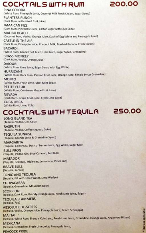 Menu 7 - Alibi - Maya International Hotel, Church Street, Bangalore
