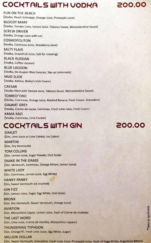 Menu 9 - Alibi - Maya International Hotel, Church Street, Bangalore
