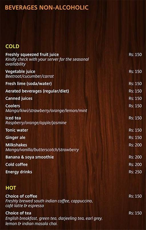 Menu 2 - Lobby Cafe - Radha Regent, Electronic City, Bangalore