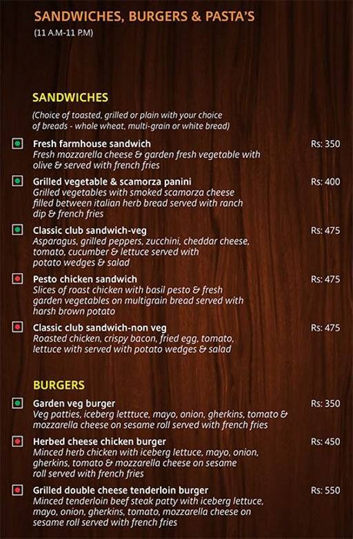 Menu 1 - Lobby Cafe - Radha Regent, Electronic City, Bangalore