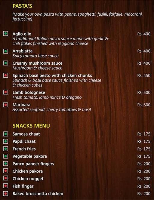 Menu 3 - Lobby Cafe - Radha Regent, Electronic City, Bangalore