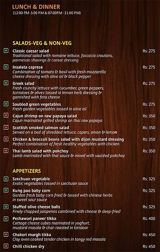 Menu 4 - Lobby Cafe - Radha Regent, Electronic City, Bangalore