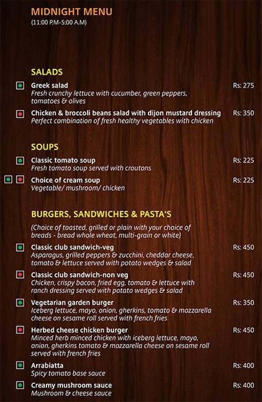 Menu 9 - Lobby Cafe - Radha Regent, Electronic City, Bangalore