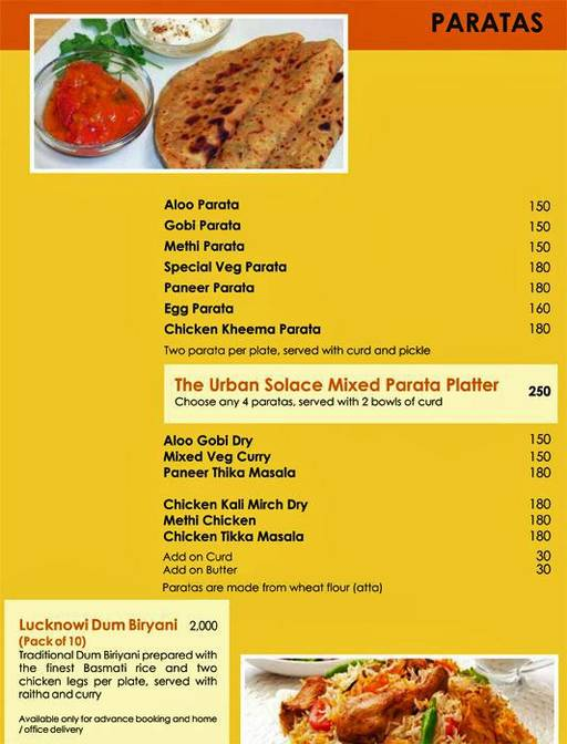 Menu 11 - Urban Solace - Cafe for the Soul, Ulsoor, Bangalore