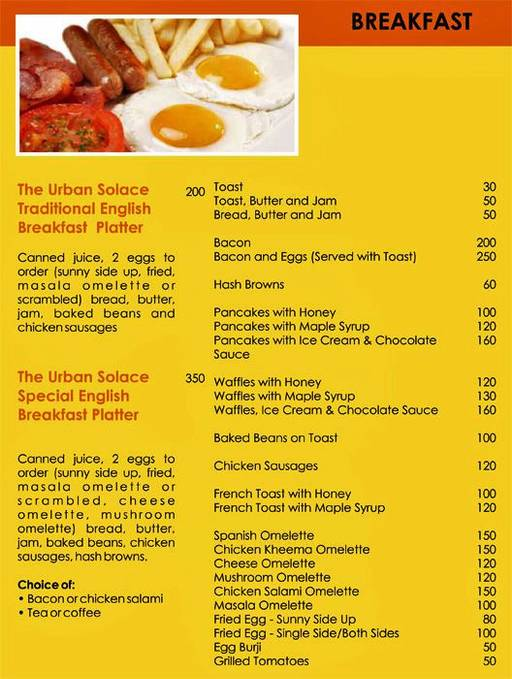 Menu 12 - Urban Solace - Cafe for the Soul, Ulsoor, Bangalore