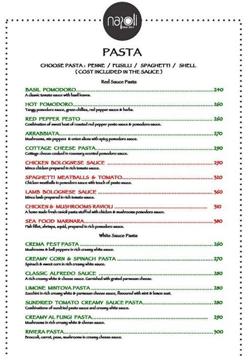 Food Menu 13 of Napoli Italian Bistro, HSR, Bangalore