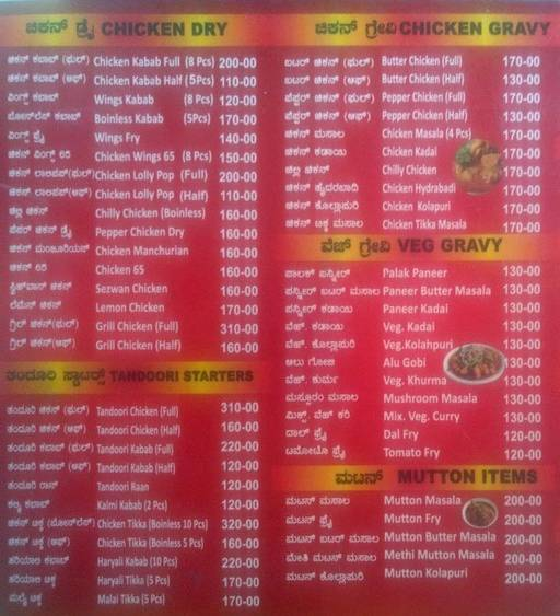 Food Menu 1 of Kabab King, Uttarahalli, Bangalore