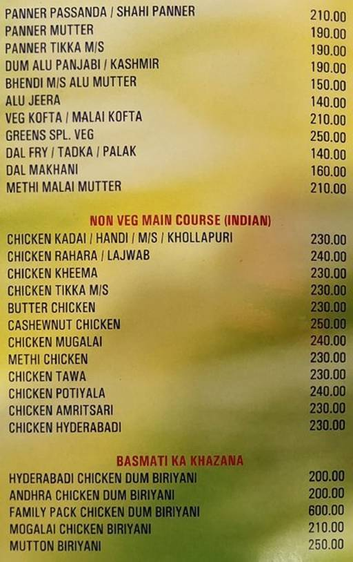 Food Menu 7 of Green Family Bar & Restaurant, Electronic City, Bangalore