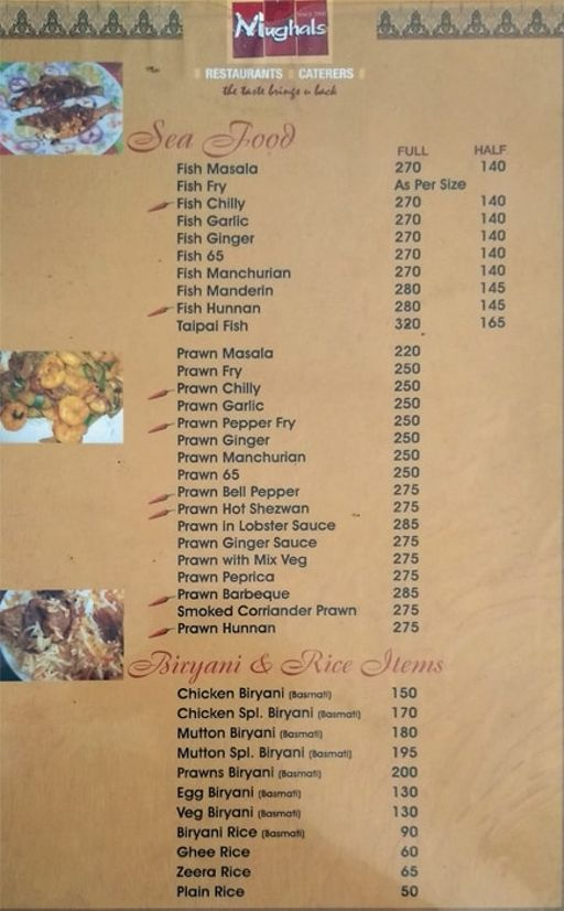 Food Menu 1 of Mughals Restaurant, Shivajinagar, Bangalore