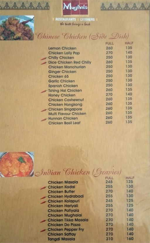 Food Menu 2 of Mughals Restaurant, Shivajinagar, Bangalore
