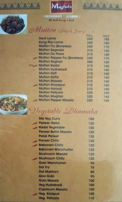 Food Menu 3 of Mughals Restaurant, Shivajinagar, Bangalore