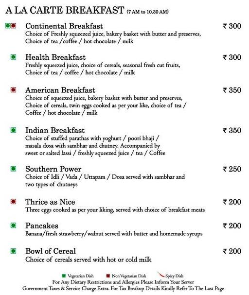 Food Menu 1 of Mosaic, Nagawara, Bangalore