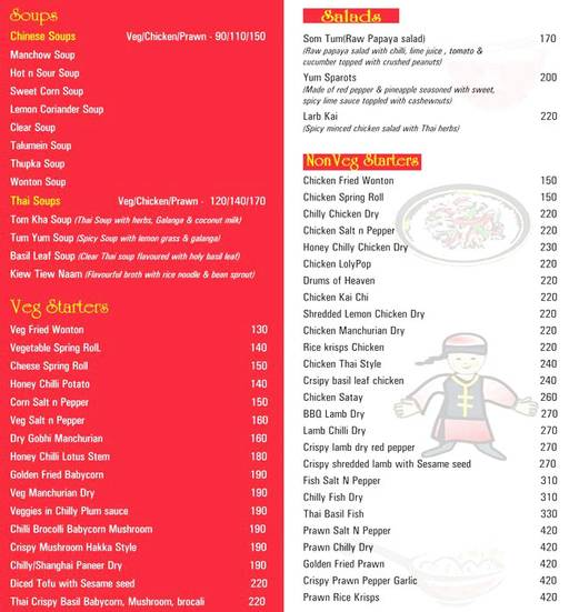 Food Menu 1 of Sum Yum Asia, DLF Phase 4, Gurgaon