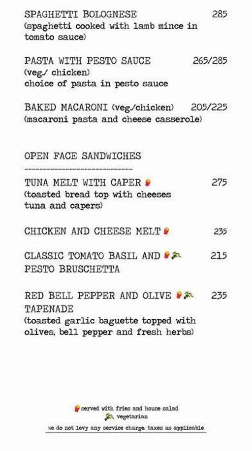Menu 11 - Another Fine Day, Golf Course Road, Gurgaon