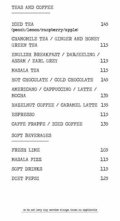 Menu 15 - Another Fine Day, Golf Course Road, Gurgaon