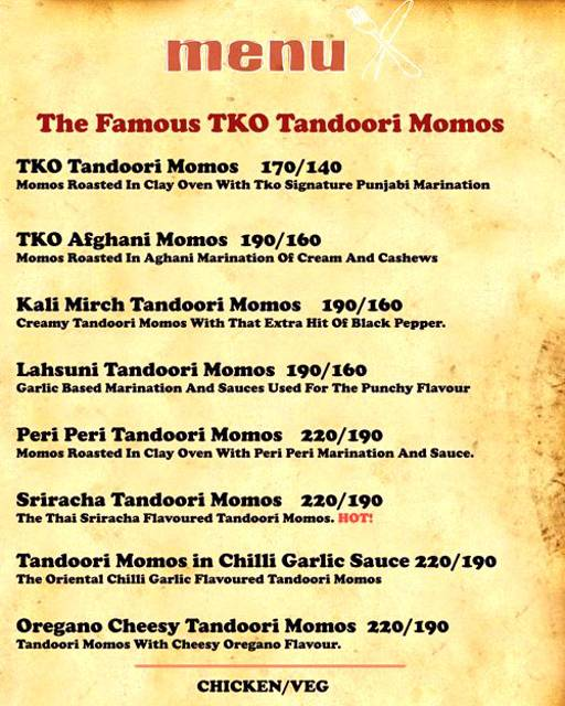 Menu 1 - Tandoori Knockouts, DLF Phase 4, Gurgaon