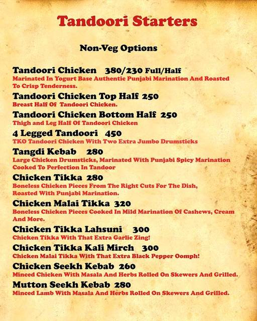 Menu 2 - Tandoori Knockouts, DLF Phase 4, Gurgaon