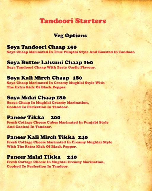 Menu 3 - Tandoori Knockouts, DLF Phase 4, Gurgaon