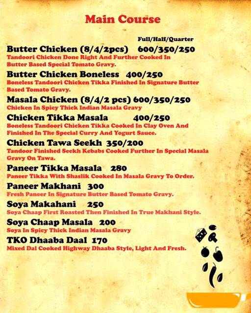 Menu 4 - Tandoori Knockouts, DLF Phase 4, Gurgaon
