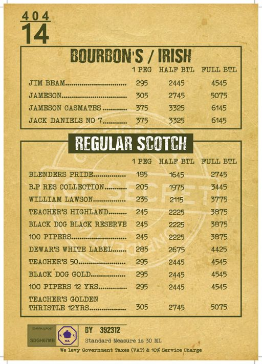 Menu 27 - Decode Air Bar, Sector 29, Gurgaon