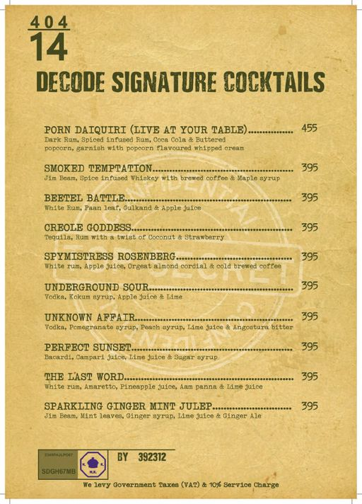 Menu 17 - Decode Air Bar, Sector 29, Gurgaon