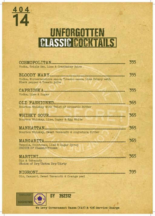 Bar Menu 4 of Decode Air Bar, Sector 29, Gurgaon