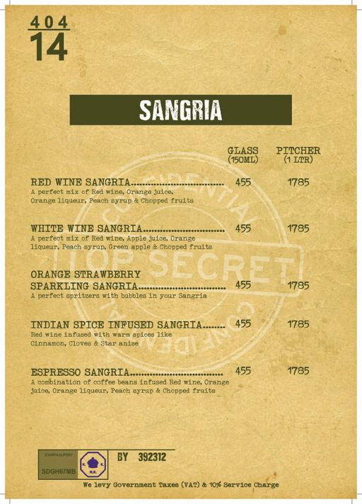 Menu 21 - Decode Air Bar, Sector 29, Gurgaon