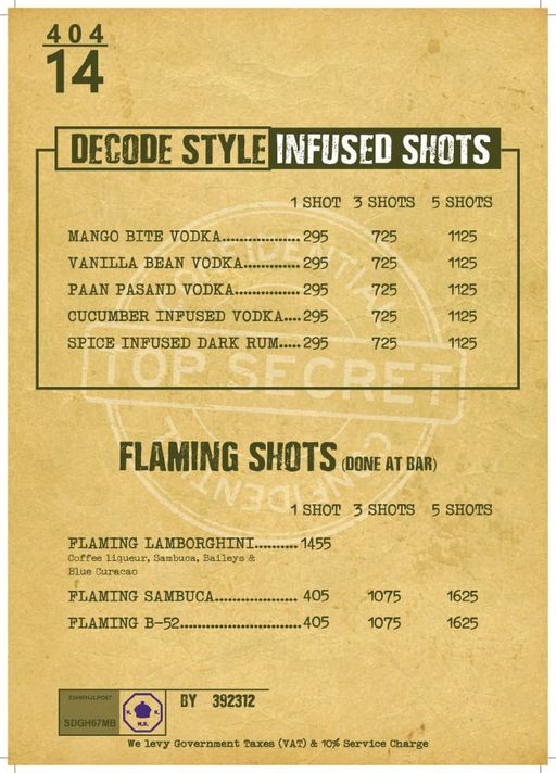 Bar Menu 8 of Decode Air Bar, Sector 29, Gurgaon