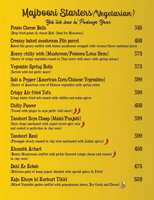 Menu 3 - Ardor 29, Sector 29, Gurgaon